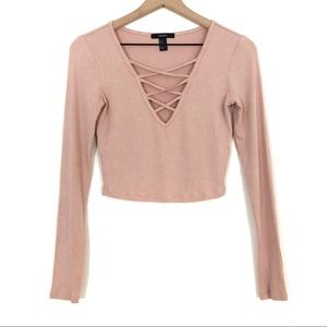 Forever 21 | Pink Mauve Ribbed Crossover Crop Top
